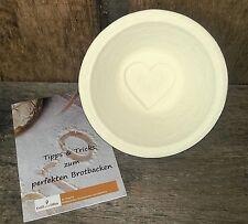 """Gärkorb Gärkörbchen Holzschliff Bodenmuster Herz inkl. Info """"perfekt Brotbacken"""""""