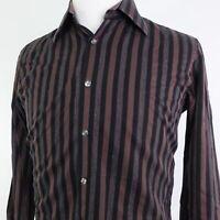 HUGO BOSS LONG SLEEVE BLACK STRIPED BUTTON DOWN DRESS SHIRT MENS SZ 16 34/35