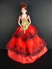 Red Gown w/Black Lace & Large Sequin Flower on Bodice for Barbie Doll