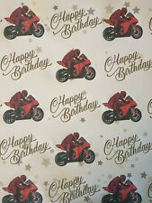 SUPERBIKE MOTORBIKE HAPPY BIRTHDAY  GIFT WRAPPING PAPER  ROAD BIKE