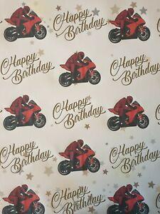 SUPERBIKE MOTORBIKE HAPPY BIRTHDAY  GIFT WRAPPING PAPER  ROAD BIKE