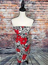 VTG Cache Strapless Red Black Zebra Stripes Floral Sequin Asymmetrical Dress 2