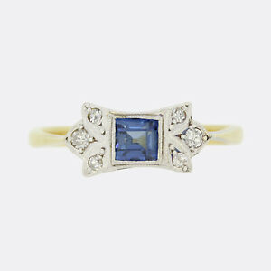 Gold Sapphire Ring- Art Deco Sapphire and Diamond Ring 18ct Yellow Gold
