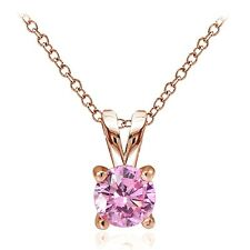 Rose Gold Tone on Silver 1/2ct Pink Cubic Zirconia 5mm Round Solitaire Necklace