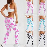 Women 3D Mickey Print Skinny Leggings Stretchy Jegging Pencil Yoga Fitness Pants