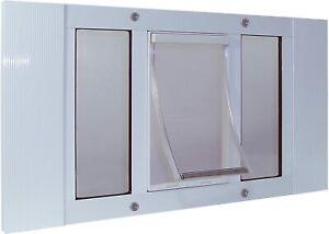 "Ideal Pet Aluminum Sash Window Pet Door Small White 5"" x 7"" Flap Size"