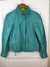 Mycra Pac Designer Raincoat Sz P Teal Green Reversible Packable Hood Jacket