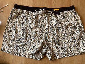 BNWT M&S LINEN BLEND PULL ON ELASTICATED SHORTS. SIZE 24 Black Mix