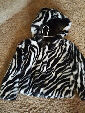 NEW**Mud Pie Baby ZEBRA FAUX FUR COAT 190165 Wild Child Collection 2/3T