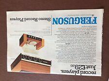 B1a ephemera 1971 folded advert ferguson stereo record players