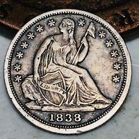 1838 Seated Liberty Half Dime 5C High Grade No Drapery US Silver Coin CC4702