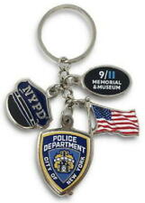 9/11 MEMORIAL KEYCHAIN with 3 Charms Flag Shield Hat SEPTEMBER 11, 2001 911 NYPD