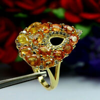 NATURAL HEATED ORANGE YELLOW  SAPPHIRE & WHITE CZ RING 925 STERLING SILVER SZ 7