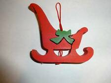 Vintage Christmas Tree Ornament Taiwan Jigsaw Cut Out Puzzle Style Santas Sleigh