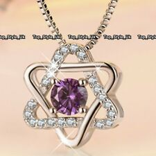 Amethyst Star Gemstone 925 Silver Women Necklace Girls Gifts for Her Niece J487A