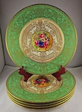 5 Royal Worcester Cabinet Plates Floral Heavy Gold Encrusted Signed Stanley Nice