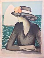 Jean-Pierre Cassigneul. Femme au chapeau. Lithographie signée et numérotée.