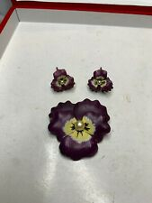 & Earrings Not Scrap 35.7g Victorian/Vintage Sterling Purple Enameled Pansy Pin
