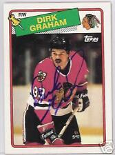 DIRK GRAHAM 1989 TOPPS CHICAGO BLACKHAWKS  AUTOGRAPHED HOCKEY CARD JSA