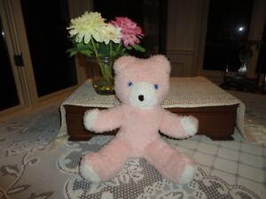 """Antique Wendy Boston UK Bear Pink White Plush 14"""" RARE"""