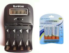 UNiROSS LCD 1-2 HOUR AA/AAA  Battery CHARGER & 4 x AA 2800 mAh Rechargeable Batt