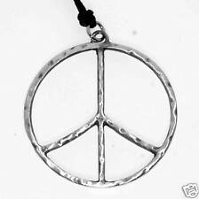 Silver PEWTER No War PEACE SIGN Hippie LOVE Big PENDANT
