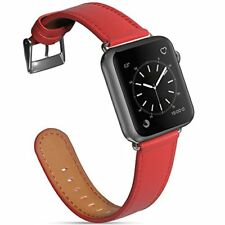 for Apple Watch 42mm Leather Band Strap Series 3 2 1 Edition Nike+ Hermes, Red