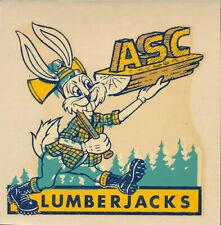 Arizona State College Flagstaff Original 1940's Decal Lumberjacks RARE Rabbit AZ