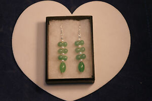 Beautiful Earrings With Jade And Pearls 8 Gr. 2.8 Cm. Long + Hooks In Box