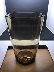 Large Vintage Amber / Gold Glass Vase 23 Cm Tall (Or197)