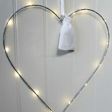 Silver Heart Fairy Light Wreath Decorations LED Large 40cm Battery Operated