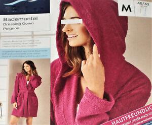 Damen Bademantel kurz mit Kapuze weiche Baumwoll-Qualität Gr.M 40/42 pink NEU