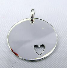 Sterling Silver (925)   Disc  Heart   Pendant   !!     Brand New !!