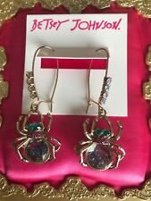 Betsey Johnson Spider Lux Shaky Spider Insect Bug Belly Crystal Bottle Earrings