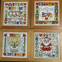 "Vintage Enesco Christmas 4"" Tile Plaque Set Of 4 1982 Decor Art Kiss The Cook"