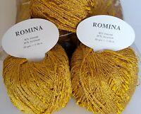 "10 Pelotes ""ROMINA"" Viscose et Acrylique Aspect Brillant / Jaune Moutarde"