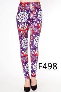Women's Paisley Print Plus Size Peachskin Printed Leggings O/S (10-18) Blue L03