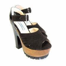 "S-997150 New Prada Brown Open Toe Sandal 6"" Platform Shoes Size US 6/marked 36"