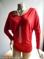 TERRA DI SIENA MADE IN ITALY  HAUT TOP ROUGE COLLIER PERLE INTEGRE 40/42 NEUF