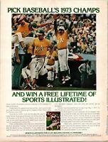 Vintage Print Ad 1973 Sports Illustrated Pick Baseball Winner Oakland Athletics