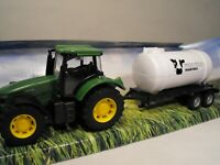 TOY TRACTOR AND TRAILER GREEN MODEL FARM TRACTOR WITH FARM TANKER TOY FARM SET