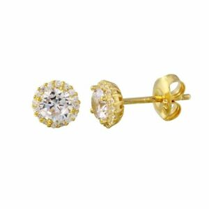 14K YELLOW GOLD OVER 925 STERLING SILVER ROUND STUD EARRINGS W/ LAB DIAMONDS