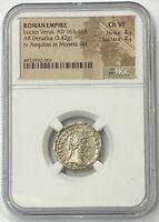 Roman Empire Lucius Verus AD 161-169 Authentic Silver Denarius NGC CHVF PQ+