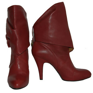 JOAN DAVID Burgundy Genuine Leather Women's Low Calf Boots Size 10M WITH DEFECT
