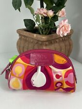 New Coach Cosmetic Bag Valentine Pink Scarf Print F42348 Sateen Leather M4