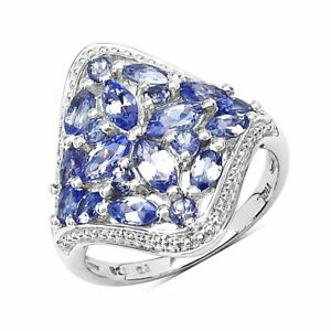 Natural Tanzanite ring with White Topaz Cluster Silver Rings White gold over