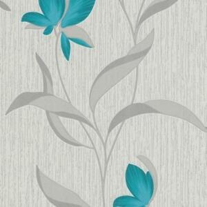 Teal Flower Silver Leaf Glitter Fleur Floral Textured Wallpaper 9730-18