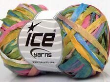 Ice CONFETTI Yarn #62202 Yellow Pink Blue Green FESTIVE RIBBON 50 Grams