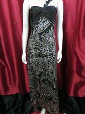 NV Couture One Shoulder Embellished Black Silver mix Evening Dress UK 10-12, US6