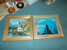 Two Home Made Wood Framed Country Pictures Prints